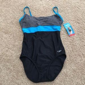 New! Speedo USA heather grey combo sZ 8, swimsuit.